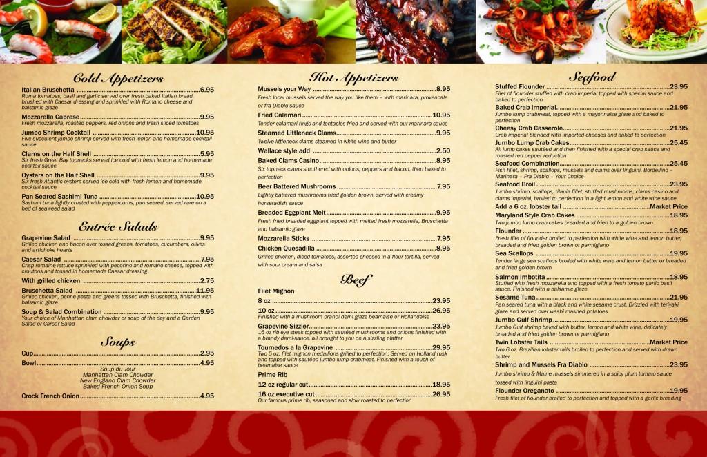Our menu the grapevine restaurant 609 296 7799 for X cuisine miri menu
