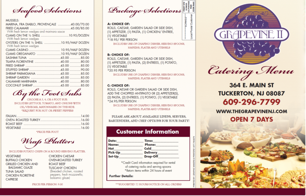 The Grapevine Catering Menu