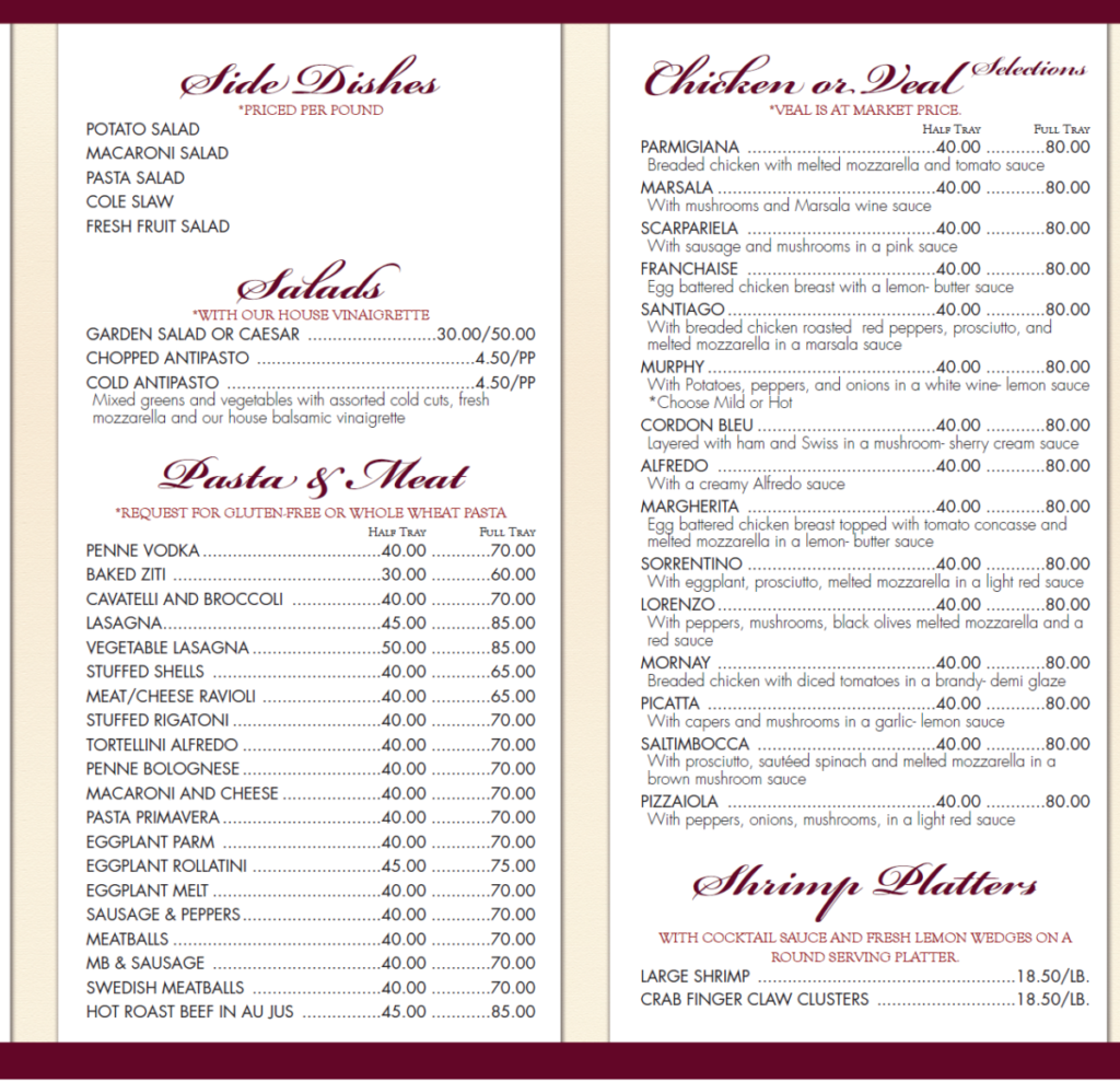 ... The Grapevine Restaurant Catering Menu 2 1024x989 Regular Catering Menu